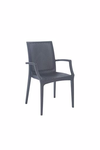 Immagine di Poltrona sedia resina rattan Bistrot Antracite