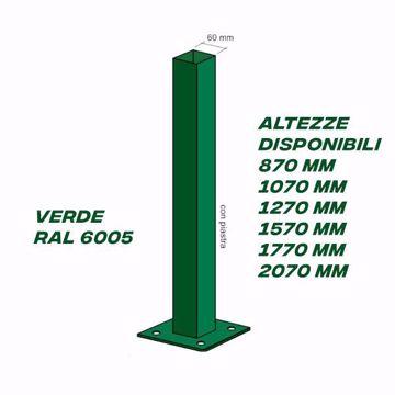 Immagine di Palo quadro verde per recinzione con piastra 60 x 60 x 1,5 Kit 2 PZ