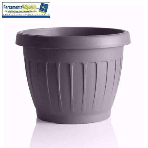 Immagine di Vaso in plastica circolare per fiori/piante diametro: cm 25 colore: grigio serie: terra