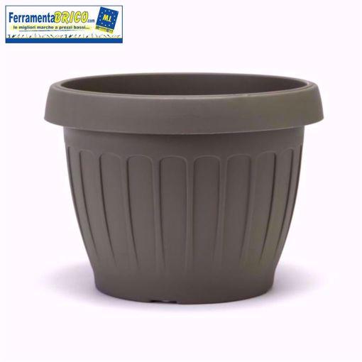 Immagine di Vaso in plastica circolare per fiori/piante diametro: cm 25 colore: cappuccino serie: terra