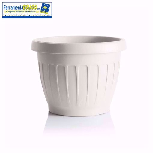 Immagine di Vaso in plastica circolare per fiori/piante diametro: cm 40 colore: bianco serie: terra