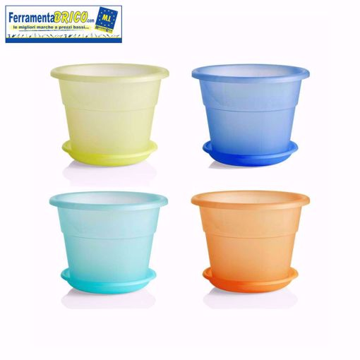 Immagine di Vaso in plastica circolare  Kristal diam.  20  + Sottovaso serie: hedera